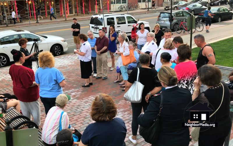 Some 30 people showed up to the vigil organized by Cambridge Overcoming Addiction held at Cambridge City Hall, May 2017.