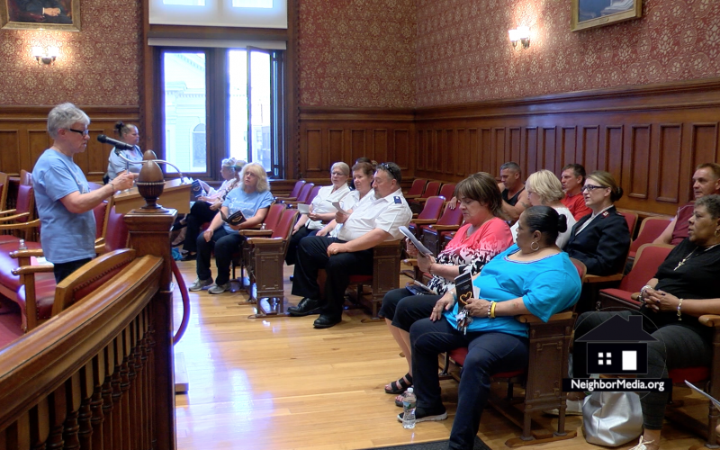 Pat Medeiros, the founder of Cambridge Overcoming Addiction, speaks at a vigil held in May 2017 at Cambridge City Hall.