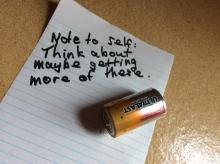 """Note to self: Think about maybe getting more of these."" Image of battery."